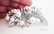 wedding photo - Rhinestone and White Pearl Bridal Hair Barrette, Crystal and Pearl Hair Clip for Bride, Wedding Day Hair Barrette, Bridal Pearl Hair Clip
