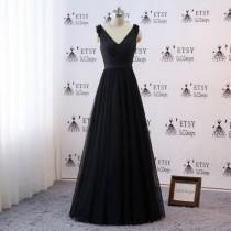 wedding photo - 2019 Prom Ball Gown Bridesmaid Dresses Long Black Evening Dresses V-neck Dress Women Formal Gown Bride Wedding Party Guest Dresses KL-327