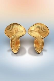 wedding photo - Italian solid gold earrings 18k or 14k real gold, modern yellow gold stud earrings, Italian fine jewelry