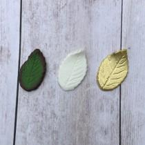 wedding photo - Set of 10 Rose Gumpaste Rose Leaves Choose Green White or Gold Small Medium or Large with or without wire