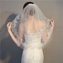 wedding photo - Two Layer Elegant Bridal Wedding Veil, Short Lace Veil With Comb,With Lace Edge Around
