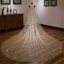 wedding photo - Luxury Golden Bridal Veil Sparkling Wedding Veil Long Wedding Veil Glitter Gold Bridal Veil Cathedral Wedding Veil Stunning Wedding Decor