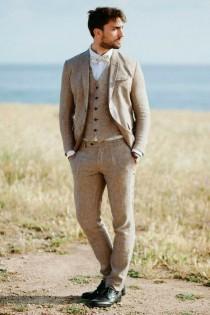 wedding photo - Men Linen Suits, Men Suits, Brown 3 Piece Linen Suits, Two Button Linen Suits, Wedding Groom Wear, Summer Suits, Beach Suits,
