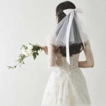 wedding photo - Bow Tie Short Bridal Veil Clip On