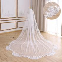 wedding photo - New Scallop Hem Lace Bridal Veil Cathedral Wedding Veil Floral Lace Veil Soft Tulle Wedding Veil  Ivory Chapel Single Layer Bridal Veil
