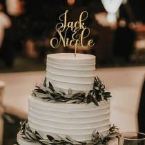 wedding photo - Gold Cake topper for Wedding, Wedding cake toppers, Cake topper wedding, Custom name cake topper, Anniversary Cake topper
