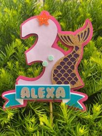 wedding photo - Personalized Mermaid Glitter Cake Topper