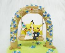wedding photo - Pikachu couple wedding cake topper, wedding decoration handmade clay
