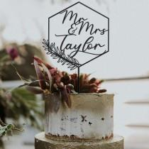 wedding photo - Rustic Wreath Cake Toppers For Wedding - Wedding Cake Topper Rustic - Personalized Wedding Cake Topper Name - Cake Topper Birthday