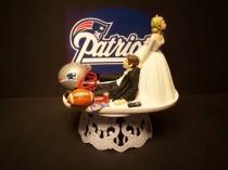 wedding photo - PATRIOTS NEW ENGLAND football wedding cake topper sports funny