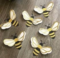 wedding photo - 6pcs 3D bumble bee paper wall decor , What will it BEE, nursery wall art, bee happy, bee party theme, girls room decor, baby shower gift