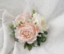wedding photo - Blush & White Wedding Cake Decoration Cake Arrangement Topper Artificial Flowers Wedding Flowers Peach Cream Wedding Floral Cake Topper