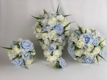 wedding photo - Artificial wedding bouquets flowers sets ivory & baby blue roses hydrangea