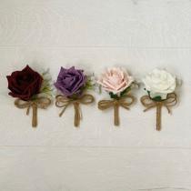 wedding photo - Rustic Rose Buttonhole, Ivory, Burgundy, Blush pink, Mauve, groom, groomsmen, wedding flowers, boutonniere, corsage
