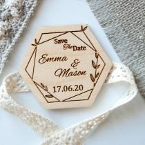 wedding photo - Wooden save the date magnet