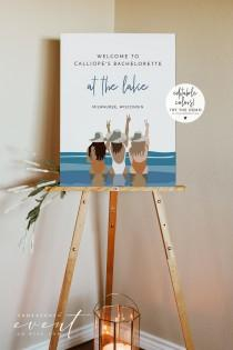 wedding photo - REED Lake Bachelorette Welcome Sign Template, Ocean Bachelorette Sign Printable, Cabin Bachelorette Instant DIY, Swim Bachelorette Welcome