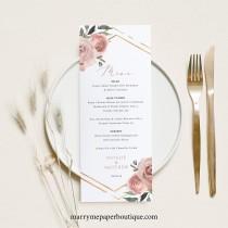 wedding photo - Wedding Menu Template, Dusky Pink Floral, Wedding Table Menu Card, Printable, Editable, Templett INSTANT Download