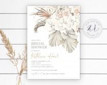 wedding photo - Pampas Grass Boho Bridal Shower Invitation, Bohemian Bridal Shower, Boho Tropical Desert, Digital File, DIY