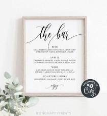 wedding photo - Wedding Bar Menu Sign, Printable Calligraphy Bar Menu Template, Modern Bar Sign, 8x10, Instant Download, Edit with Corjl, yv348