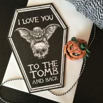 wedding photo - NEW COFFIN CARDS - I love you to the tomb and back - Alternative anniversary, valentine, love card. Skeleton gothic cute. Goth Card