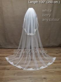 wedding photo - Wedding veil, Cathedral veil, Ivory veil, White veil, Vail, Lace wedding veil, Two tiers veil