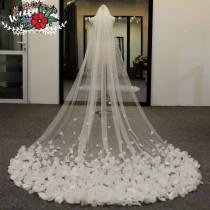 wedding photo - Chapel Wedding Veil with Petals -Bridal Veil,Veil,Floral Veil,Wedding Veil with comb-White Wedding veil with petals In white.Ivory or white