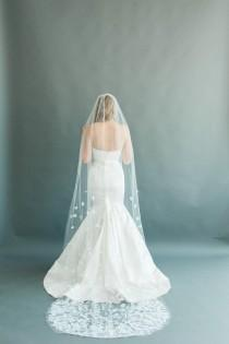 """wedding photo - Wedding Veil, Bridal Cathedral Length Cascading Flowers Beaded Sheer Ivory or White Tulle Floral Applique, Camilla Christine PETAL 54"""""""