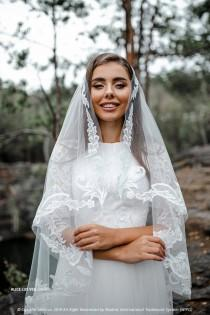 wedding photo - Alice Lux Veil Hip Length, Short Veil with Lace, Boho Veil  New SBA collection