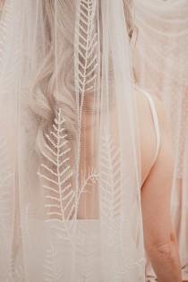 wedding photo - Beaded Leaf embroidered wedding veil, bridal veil, long, bohemian wedding veil