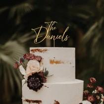 wedding photo - Wedding cake topper, Custom cake topper, Mr and Mrs cake topper, Rustic wedding gold cake topper, Cake toppers,Birthday baptism anniversary