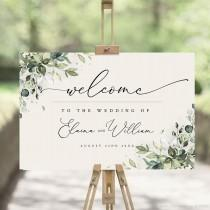 wedding photo - Greenery Welcome Sign Template, Large Welcome Sign for Wedding, Event Welcome Sign, Boho Greenery Wedding Sign Poster, Welcome PDF, ARIA