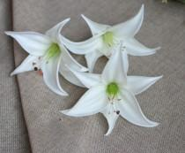 wedding photo - White Tiger Lily Head Blooms Real Touch Flowers DIY Wedding Cake Toppers