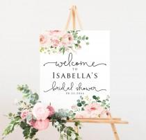 wedding photo - 6 Sizes Blush Floral Bridal Shower Welcome Sign Template, Printable Welcome Sign, Editable Welcome Sign, PinkWelcome Sign, Instant Download