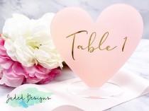 wedding photo - Heart Table Numbers for Wedding Table Numbers Acrylic Bridal Shower Table Numbers, Modern Table Numbers, Rose Gold Wedding Decor, Mirror