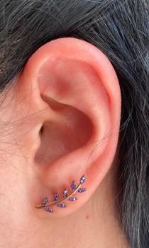 wedding photo - Amethyst Leaf Stud Earrings, Silver Ear Climber, Bridesmaid Gift