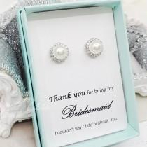 wedding photo - Silver 8mm Pearl with around stone Earrings, Bridesmaid Earrings Gift
