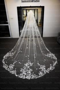 wedding photo - ls47/3D flower lace veil /1 tier veil/bridal veil /wedding veil /cathedral veil/ custom veil