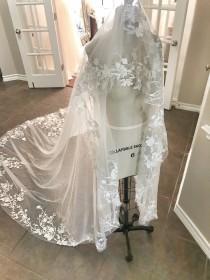 wedding photo - Mantilla /Drop Veil style Floral Veil, long cathedral veil, Flowers, Lace veil, Long Veil, Unique veils, Bridal veils