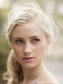 wedding photo - Crystal Edge Face Veil, Rhinestone Bridal Veil, Ivory French Net Veil, Birdcage Veil, Rhinestone Edge Veil, Veil for Bride, Bridal Headpiece