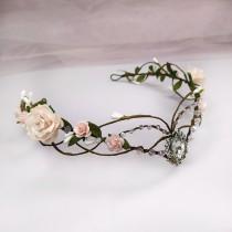 wedding photo - Blush pink elf crown Elven headpiece Woodland elven crown Elven circlet Elf tiara Elven fairy crown