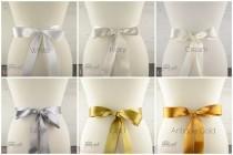 wedding photo - High Quality Neutral Colours Satin Bridal Sash