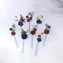 wedding photo - Bridal Hair Piece Burgundy, Floral hair Pins, Set of Hair Pins, Burgundy Navy Blue and White Hair Flowers, Burgundy Hair Flowers