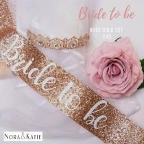 wedding photo - Glitter Rose Gold sash - Bride sash - bachelorette party sash - rose gold glitter sash - hen night sash bride to be - Future Mrs
