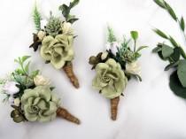 wedding photo - Wedding Boutonniere, Sage Green Boutonniere, Rustic Button Hole