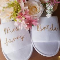 wedding photo - Bride slippers, bridesmaid slippers, bride to be slippers, wedding day, hen party favours, personalised wedding slippers, hen weekend gifts