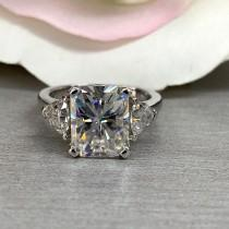 wedding photo - Radiant Cut Moissanite Ring, Bride to be, Engagement, Wedding, Promise, Anniversary Ring, Mother's Day, Gift for her, 14k White Gold #5477