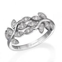 wedding photo - Art Deco Engagement Ring, Wedding Ring, Cocktail Ring, Leaf Ring, Diamond Ring, 14k White Gold Ring, Woman Ring, Promise Ring