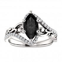 wedding photo - Sculptural Black Marquise Engagement Ring 14k White Gold, Scroll Marquise Black Onyx Ring, Victorian Marquise Black Diamond Ring, Art Deco