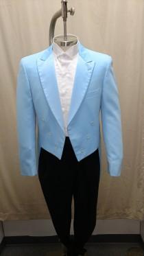 wedding photo - Vintage Blue Tail Coat Tuxedo Jacket