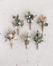 wedding photo - Boutonniere for men, Rustic Wedding Boutonniere, Groomsmen Boutonniere, Wedding Boutonniere, Rustic button hole